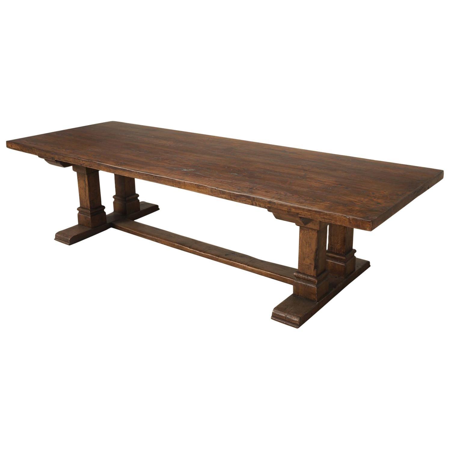 Farmhouse Trestle Dining Table in Solid Oak