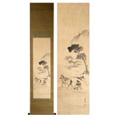 Farming Rice Fields Scene Meiji Period Scroll Japan 19c Artist Marked