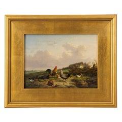 Farmyard Poultry 19th Century Landscape Painting by Cornelis Van Leemputten