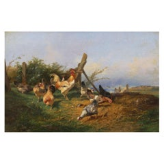 """Farmyard with Poultry"" Antique Oil Painting by Emile Lemmens, French, 1821-1867"