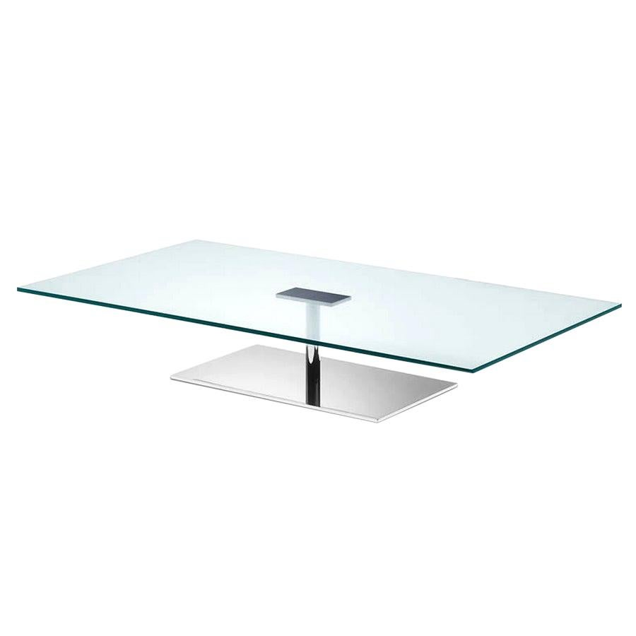 Farniente, Rectangular Low Coffee Table with Glass Top & Chrome Base