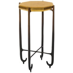 Faroh Side Table Display Stand in Cast Bronze and Gold leaf by Elan Atelier
