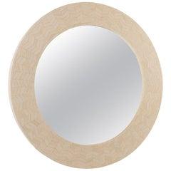 """Farrago Design """"Radiance"""" Round Bone Frame Mirror"""