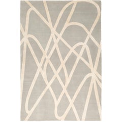 Farrah Grey Hand-Knotted 10x8 Rug in Wool and Silk by Nicole Fuller