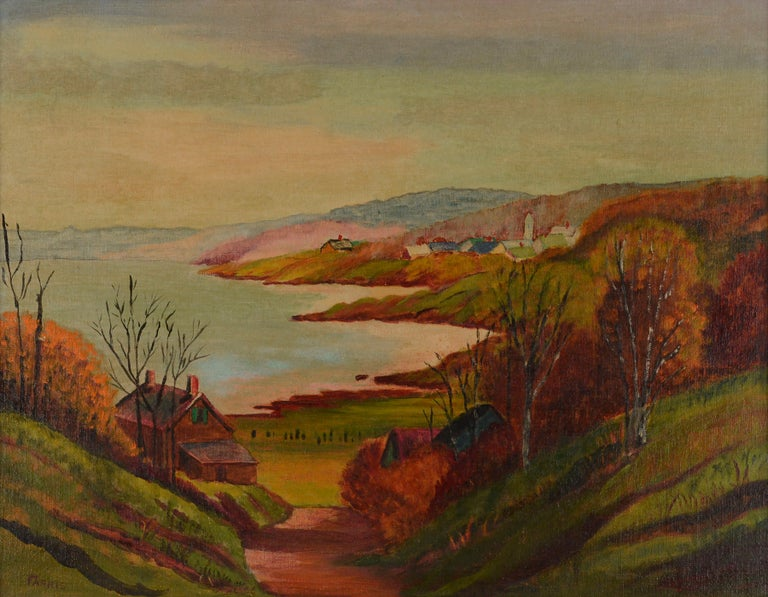 Mid Century Autumn Valley Landscape  - Painting by Farris