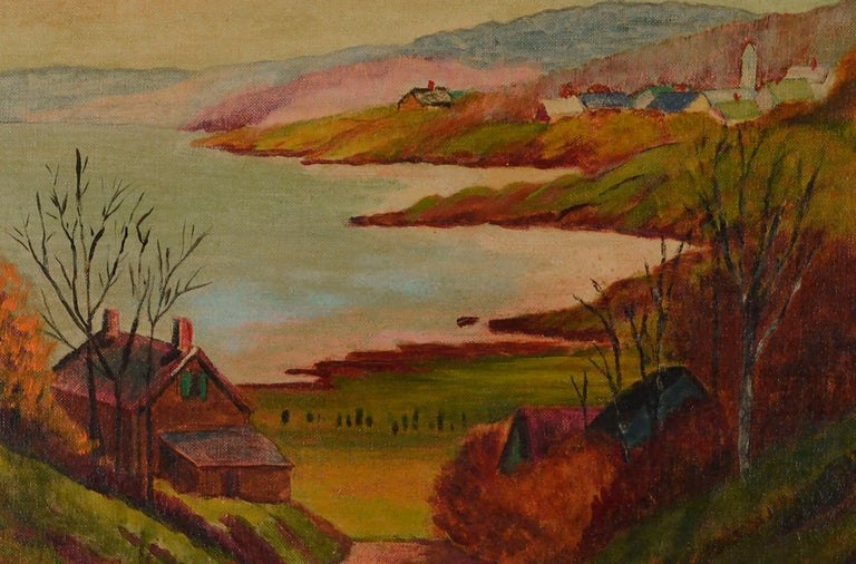Mid Century Autumn Valley Landscape  - American Impressionist Painting by Farris