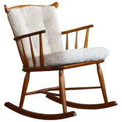 Farstrup 1950s Low Spindle Back Rocking Chair with Shearling Cushions