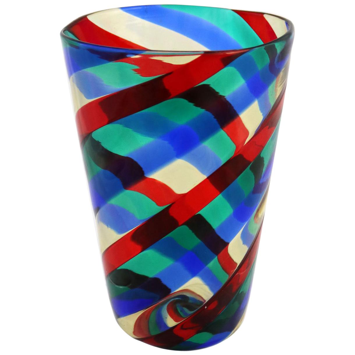 Fasce Ritorte Red Blue Green Murano Glass Vase Fulvio Bianconi Attributed Venini
