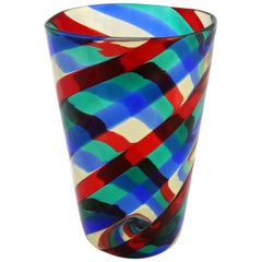 Fasce Ritorte Red Blue Green Murano Glass Vase Fulvio Bianconi Attributed Venini