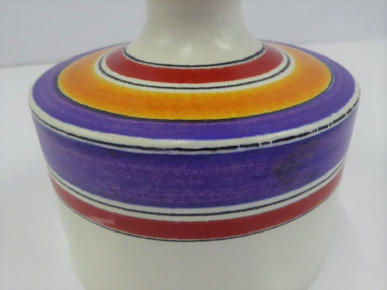 Fascie Colorate Ceramic Vase by Aldo Londi for Rosenthal Netter Bitossi, 1970s In Good Condition For Sale In Miami, FL