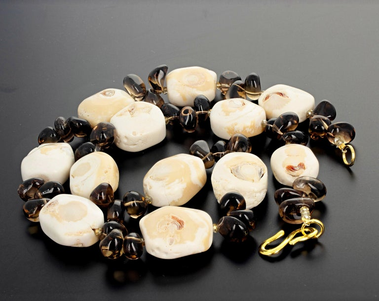 Fascinating Natural Beige Coral and Smoky Quartz Necklace In New Condition For Sale In Tuxedo Park, NY