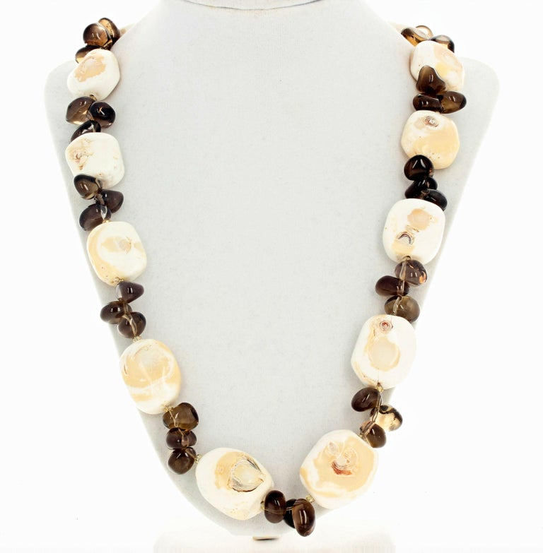 Fascinating Natural Beige Coral and Smoky Quartz Necklace For Sale 1