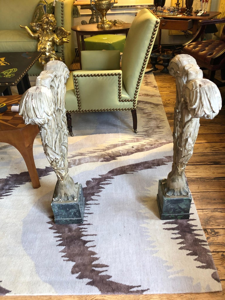 Fascinating Pair of Antique Carved Wood Feather Sculptures For Sale 9
