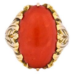 Fascinating Vintage Italian Coral 18 Karat Gold Ring