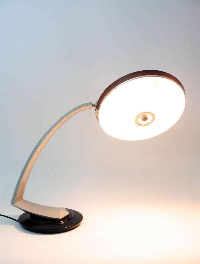 Spanish Fase Boomerang 2000 Black and Grey Table Lamp, 1960s For Sale