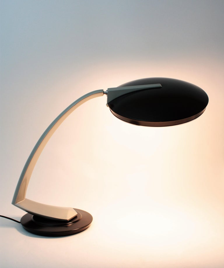 Mid-20th Century Fase Boomerang 2000 Black and Grey Table Lamp, 1960s For Sale
