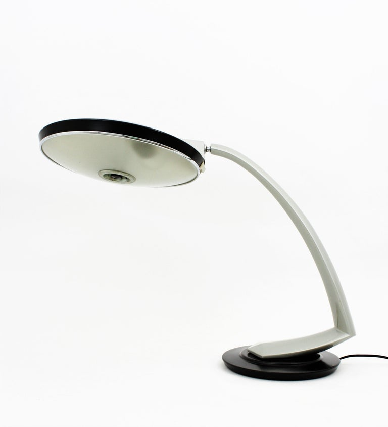 Fase Boomerang 2000 Black and Grey Table Lamp, 1960s For Sale 1
