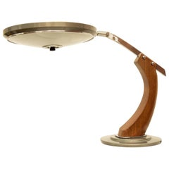Fase Madrid Midcentury Oak and Gold Desk Lamp, 1960s