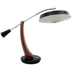 Fase President Pendulum Desk Lamp in Walnut and Black Lacquer