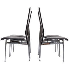 Fasem Black Stich Leather Dining Chairs, Italy