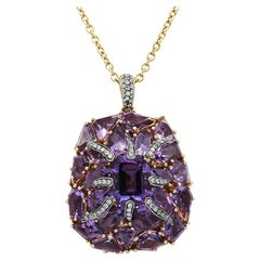 Fashion Amethyst Diamond Yellow Gold 18 Karat Necklace