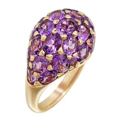 Fashion Amethyst Yellow Gold 18 Karat Ring