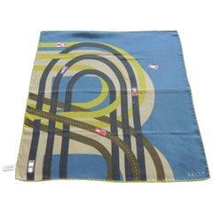 Fashion: Bally's Racetrack Green and Blue Unisex Scarf