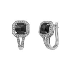Fashion Black Diamond White Gold Earrings