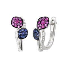 Fashion Blue Pink Sapphire Diamond White Gold Earrings