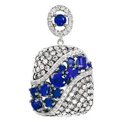 Fashion Blue Sapphire White Diamond White Gold Pendant