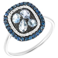 Fashion Blue Sapphire White Diamond White Gold Ring for Her