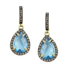 Fashion Blue Topaz Brown Diamond Yellow Gold Lever Back Dangle Earrings