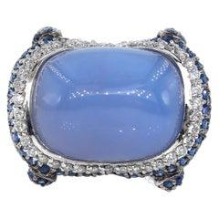 Fashion Chalcedony Sapphire Diamond 18 Karat White Gold Estate Vintage Ring