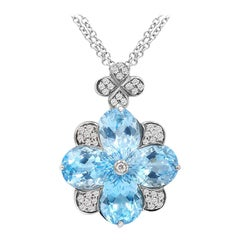 Fashion Clear Blue Topaz 18 Karat Gold Necklace