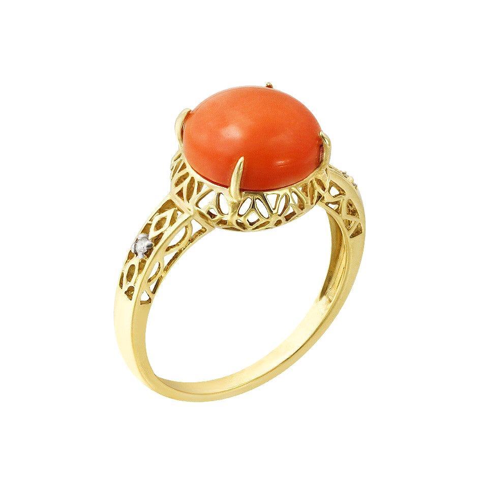 Fashion Coral Diamond Yellow Ring