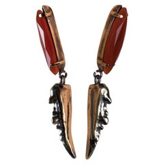Fashion Dangling Earring Pair and Red Agate Navette from IOSSELLIANI