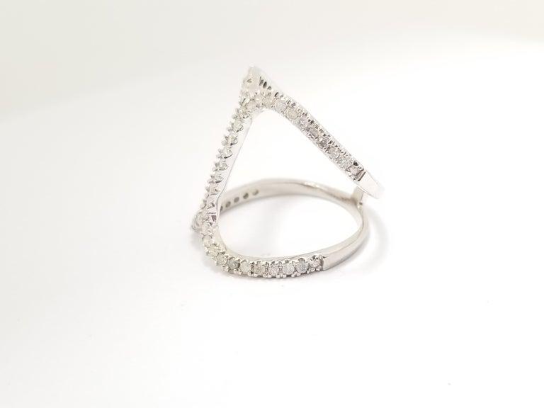 Round Cut Fashion Diamond Ring 14 Karat White Gold For Sale