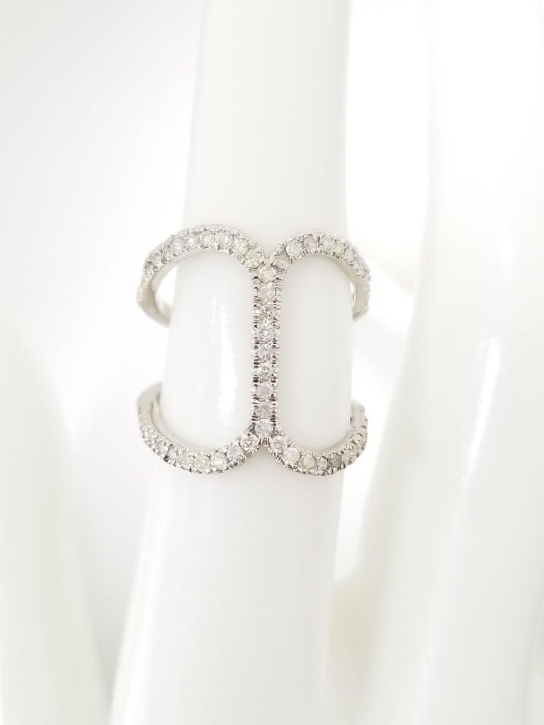 Women's or Men's Fashion Diamond Ring 14 Karat White Gold For Sale