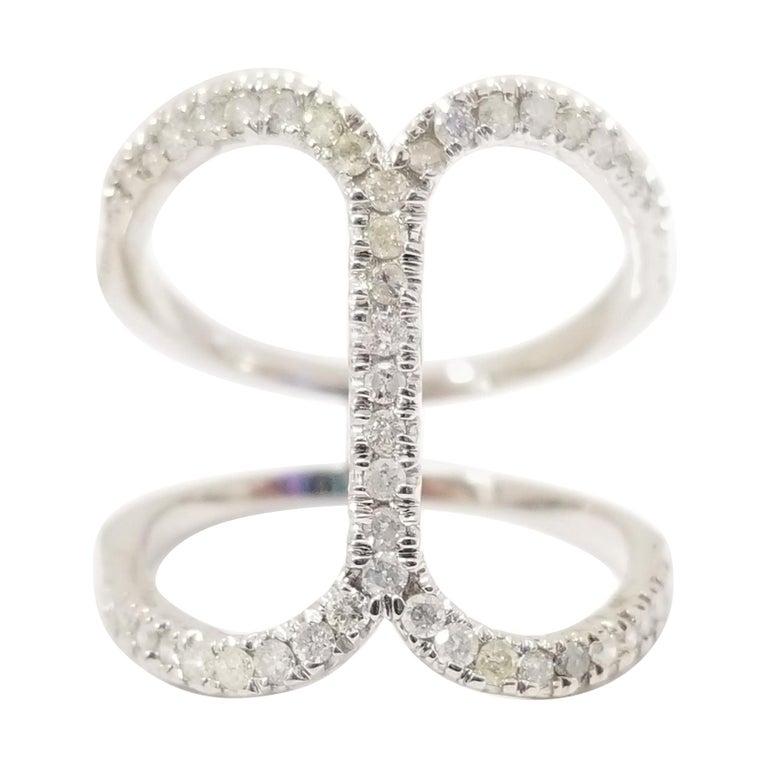 Fashion Diamond Ring 14 Karat White Gold For Sale