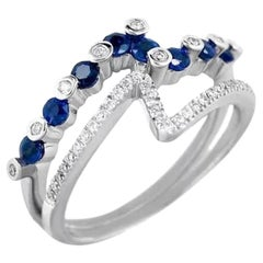 Fashion Every Day Blue Sapphire Diamonds White Gold Ring for Her