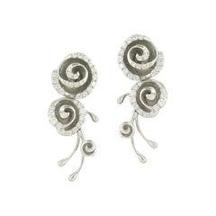Fashion Fine Jewelry White Diamond White Gold Earrings