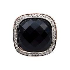 Fashion French Cut Black Onyx and Diamond 18k Rose Gold Estate Ring