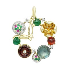 Fashion Garnet Ruby Emerald Citrine Topaz Diamond Yellow Gold Pendant