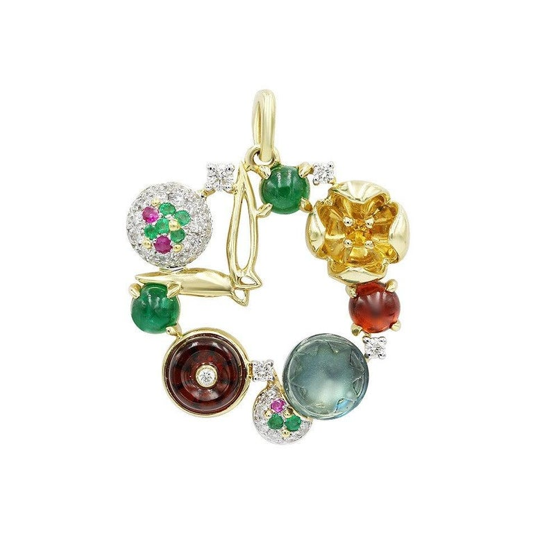 Fashion Garnet Ruby Emerald Diamond Yellow Gold Earrings In New Condition For Sale In Montreux, CH