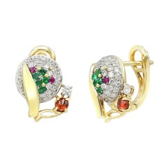 Fashion Garnet Ruby Emerald Diamond Yellow Gold Earrings