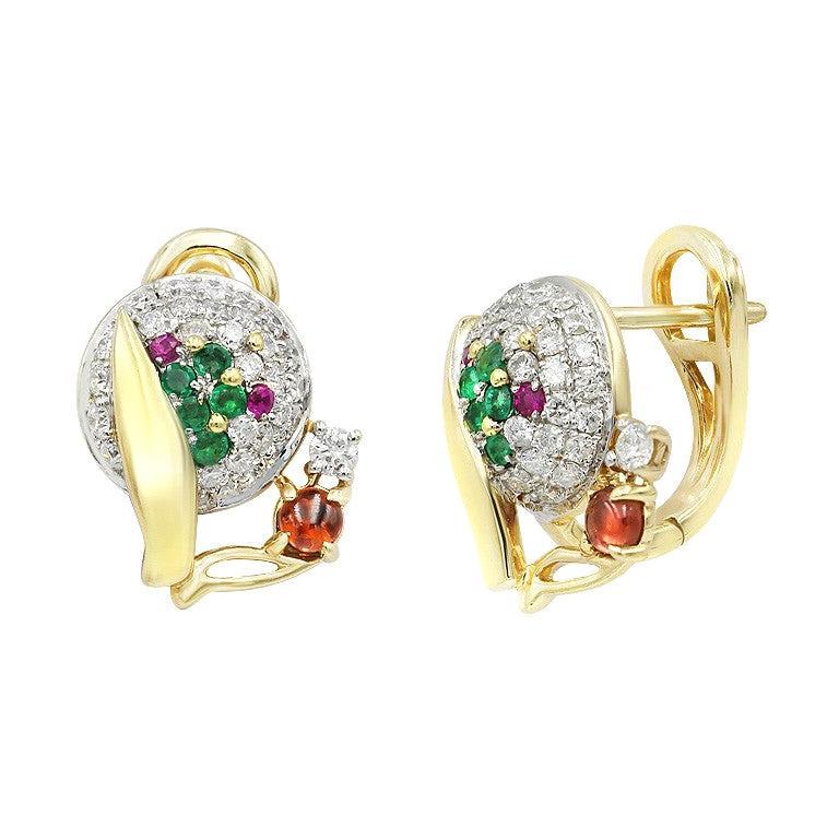 Fashion Garnet Ruby Emerald Diamond Yellow Gold Earrings For Sale