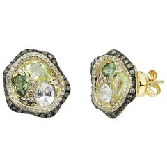 Fashion Green Sapphire Diamond Yellow Gold Earrings