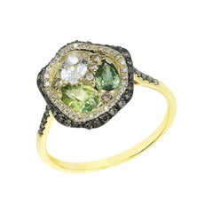 Fashion Green Sapphire Diamond Yellow Gold Ring