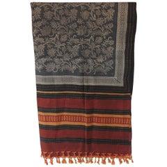 Fashion Long Sari Style Silk Floral Scarf with Tassels