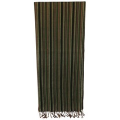 Fashion Long Vintage Green and Red Silk Stripes Unisex Scarf